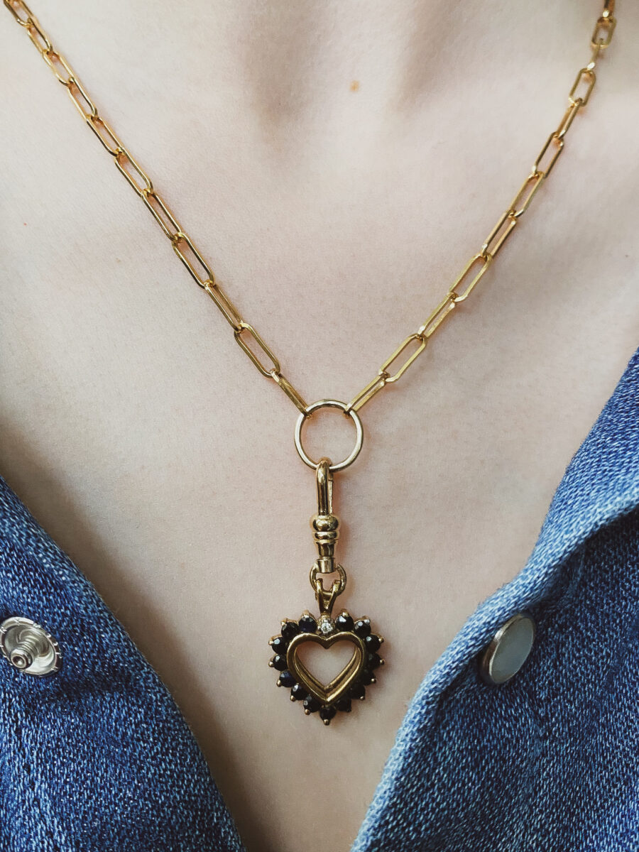 The Solid Gold Paperclip with 1990's Vintage Sapphire and Diamond Heart Charm